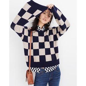 Madewell Cardiff Checkerboard Sweater Coziest Yarn